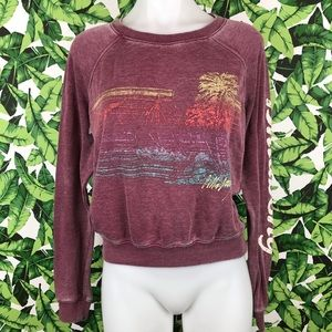 5 for $25 Billabong Maroon Burnout Graphic Sweater